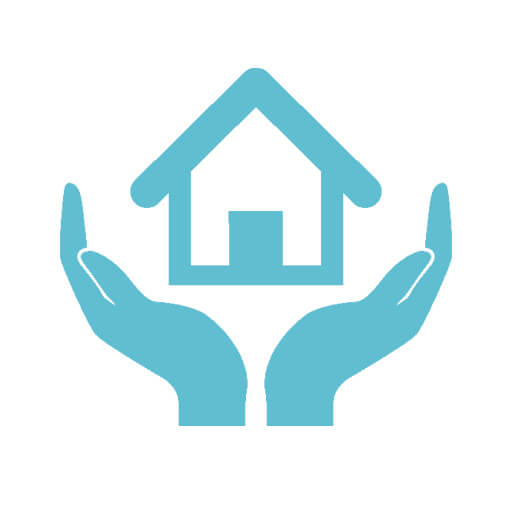 Hands holding house icon
