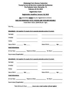 Yf R 2019 Leadership Conference Registration Form Mississippi Farm Bureau Federation
